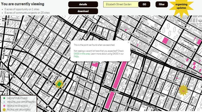 Search in Living Lots, showing location of Elizabeth Street Garden and other nearby properties.